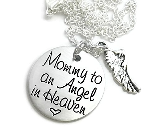 Angel of Mine - Mommy to an Angel in Heaven Necklace - Hand Stamped Jewelry - Personalized Jewelry - Engraved (Mommy Jewelry)
