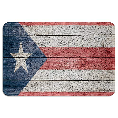 LBDecor Entrance Door Mat Non-Slip Rubber Back Rug Durable Floor Doormat with Shoes Scraper for Scraping Mud, Snow, Sand in High Traffic Areas Puerto Rico Flag Pattern(24