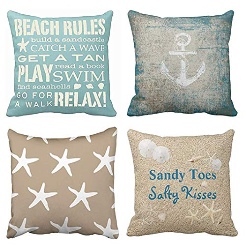 - Emvency Set of 4 Throw Pillow Covers Beach Starfish Words Rules Holiday Summer Nautical Anchor Distressed Taupe Decorative Pillow Cases Home Decor Square 18x18 Inches Pillowcases