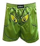 Dr. Seuss Men's Shiny Satin Grinch Holiday Boxer Short Novelty Sleepwear, Medium