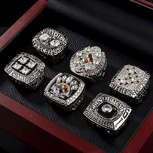 crystal 1st store 6Pcs Pittsburgh Steelers Championship Rings Super Bowl Rings Collectible Silver with Display Wooden Box ... (Silver, 11)