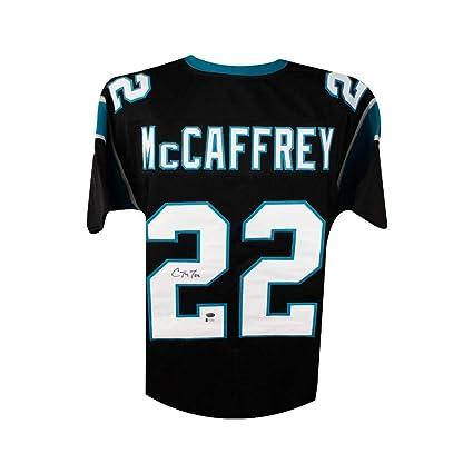 best service a9abe 5cc04 Christian McCaffrey Autographed Panthers Black Custom ...