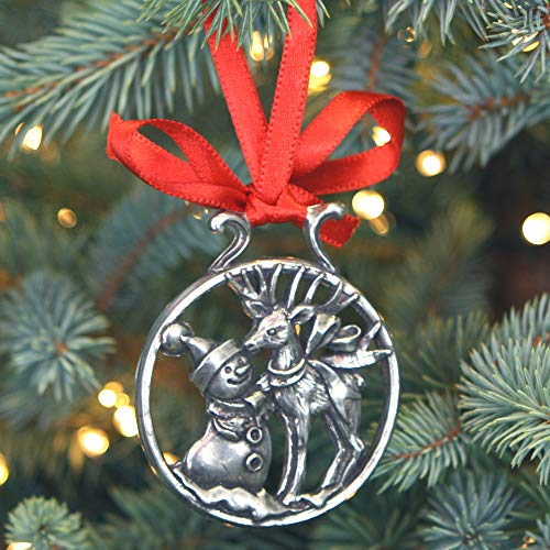 (English Pewter Company 'Snowman & Rudolph' Luxury Pewter Christmas Tree Decoration Pendant Baubles Ornament [CHR002])