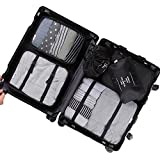 6 Set Packing Cubes,Travel Luggage Organizer-3 Travel Cubes + 3 Pouches (L,Black)