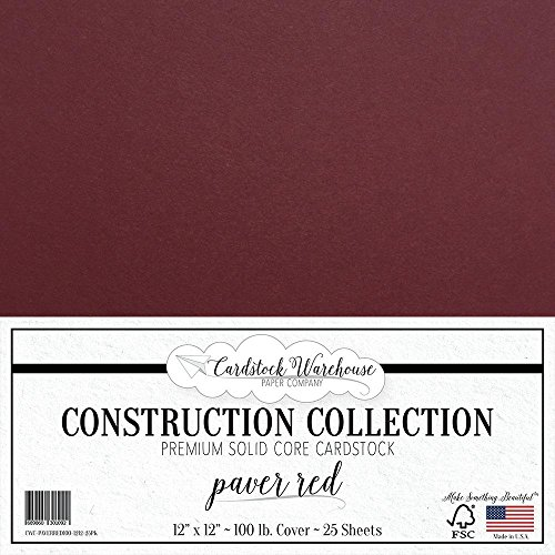 PAVER RED/WINE/BURGUNDY Cardstock Paper - 12 x 12 inch PREMIUM 100 LB. COVER from - 25 Sheets from Cardstock (12x12 Premium Cardstock)