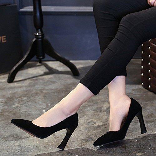 Mujeres Sandalias Zapatos Con Alto MUYII Black Grueso Los Señalaron Las Tacón Moda De Bajo Nueva De Con wtxWxq7RdC