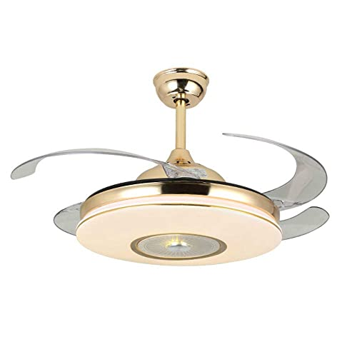 Lighting Groups 42 Invisible Ceiling Fans with LED Light Remote Control 4 Retractable Clear ABS Blades Bedroom Livingroom Diningroom Fan Chandelier Indoor Ceiling Light Kits with Fans 42 Inch, Gold