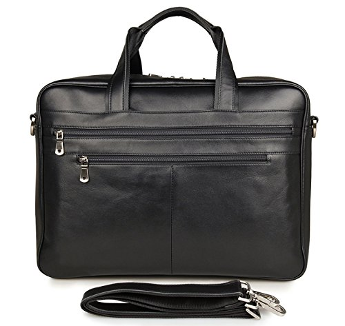 17-inch Leather Laptop Bag, Berchirly Large Lawyer Brifecase Man Computer File Bag Business Totes Black by Berchirly (Image #1)