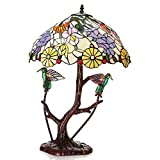 Warehouse of Tiffany Shiyee Love Birds Stained Glass 2-light Table Lamp - Multi - 18