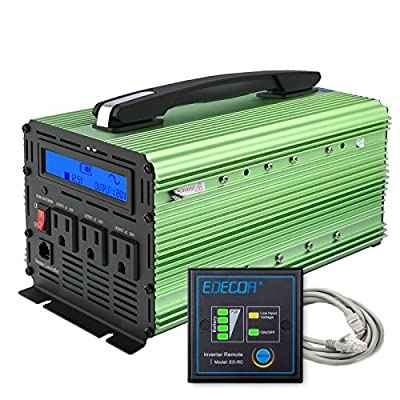 EDECOA 1500 Watt Pure Sine Wave Power Inverter 3000W Peak DC 12V to 120V AC with LCD Display and Remote Controller