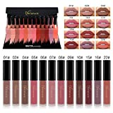 Matte Lipstick Set, 12 Colors Waterproof Long Lasting Non-Stick Cup Lip Gloss Sexy Pigmented Liquid Lipstick Set High-end Gift Box Packaging Makeup Cosmetics A02