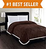 Elegant Comfort Best, Softest, Luxury Micro-Sherpa Blanket on Amazon! Heavy Weight Stripe Design Ultra Plush Blanket, King/Cal King, Chocolate