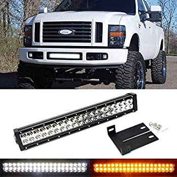 ijdmtoy lower grille mount 20-inch dual color led light bar kit for 2008-10 ford  f250 f350 super duty, includes (1) 120w led lightbar, lower bumper opening