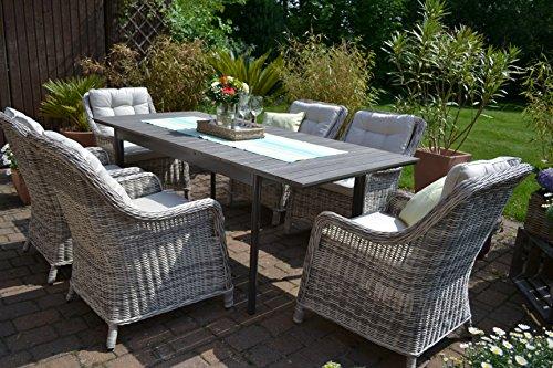 Amazon.de: Gartenmöbel Set Como 6 Tisch ausziehbar Holzdekor mit 6
