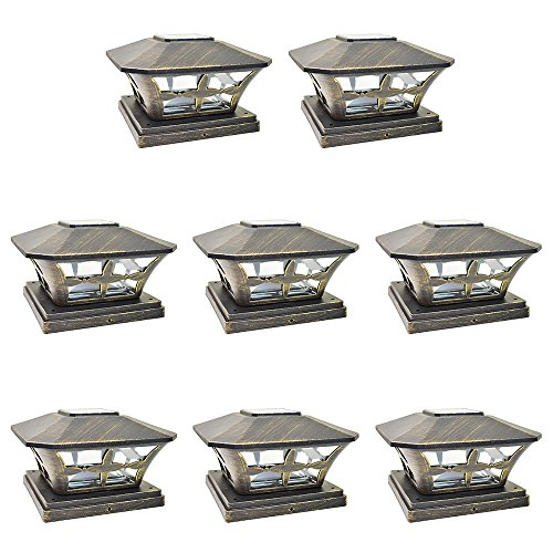 iGlow 8 Pack Vintage Bronze Garden 6 x 6 Solar SMD LED Post Deck Cap Square Fence Light Landscape Lamp PVC Vinyl Wood ()