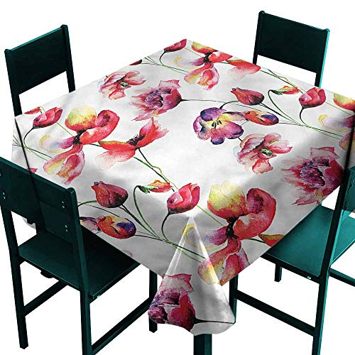 - DONEECKL Waterproof Tablecloth Tulip Blooming Tulip Poppy Party W60 xL60