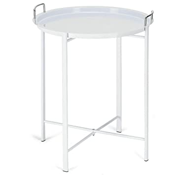 Amazon.com: White Metal Tray Table Round End Table Sofa Side ...