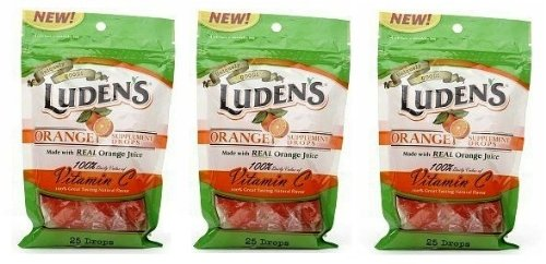 Luden's Throat Drops, Orange Flavor, 25 Drops, (3 PACK)