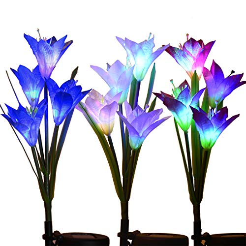 Outdoor Solar Garden Stake Lights - 3 Pack Eastred Solar Powered Lights with 12 Lily Flower, Multi-Color Changing LED Solar Stake Lights for Garden, Patio, Backyard (Bule,Purple and White) -