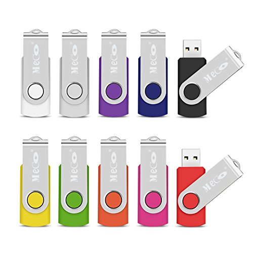 MECO 10Pcs USB Flash Drive USB 2.0 Memory Stick Fold Storage Thumb Stick Pen Drive Swivel Design Multi-color 512MB Children Mother's Day Gift