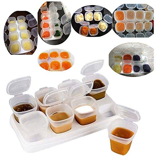 ARSUK Kunststoff Babynahrung Beh/älter f/ür Muttermilch /& andere Baby Foods Gefrierschrank Einfrieren Cubes BPA-frei mit Tablett 16st