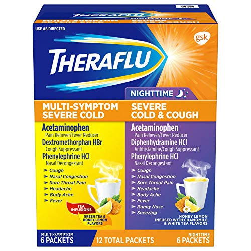 Theraflu MultiSymptom Severe Cold Relief Medicine/Nighttime Severe Cold & Cough Relief Medicine Powder, 12 Packets