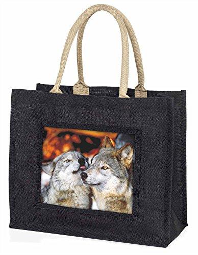 Advanta Wölfe in Love Große Einkaufstasche/Weihnachtsgeschenk, Jute, schwarz, 42x 34,5x 2cm