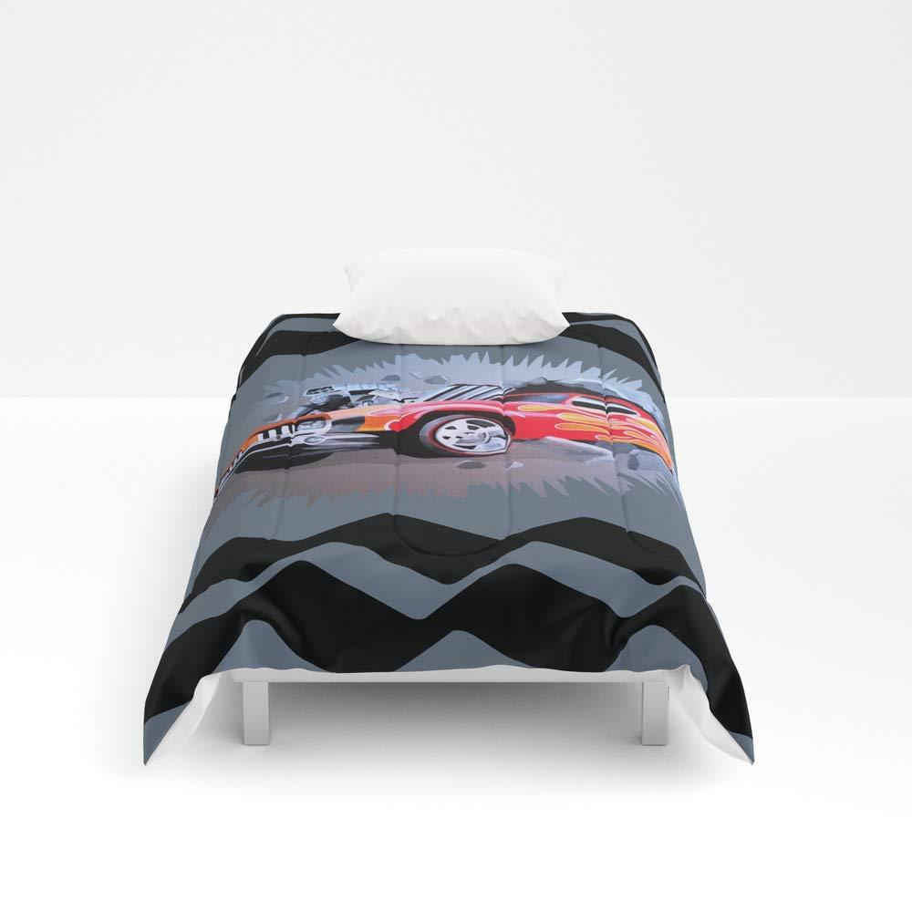 Society6 Comforter, Size Twin XL: 68'' x 92'', Hot Wheels Car Crashing Through Grey Wall by melissajbarrett