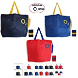 O2 Infi Pack Of 3 Grocery Tote Bag (Navy Blue, Red & Royal Blue)