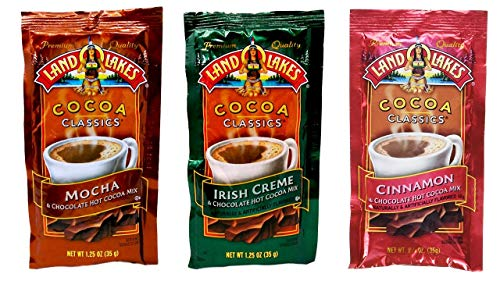 - Land O Lakes Chocolate Cocoa Classics Mix 3 Flavor 12 Count Sampler Bundle, (4) each: Mocha, Irish Creme, Cinnamon (1.25 Ounces)