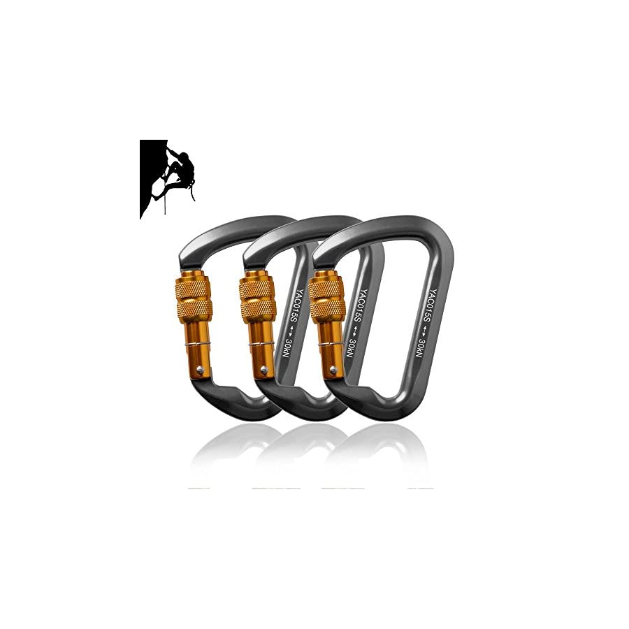 Likorlove 3 Packs 30KN Rock Climbing Carabiner, D shaped Locking Screwgate Carabiner Hot forged Magnalium Climber for Hiking/Travel/Mountaineer Karabiner CE Eertified
