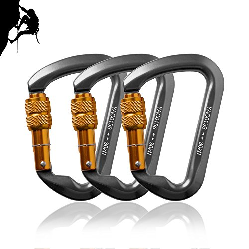 3 Packs 30KN Rock Climbing Carabiner,likorlove D shaped Locking Screwgate Carabiner Hot forged Magnalium Climber for Hiking/Travel/Mountaineer Karabiner CE Eertified
