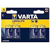 Varta Longlife C Alkaline Batteries LR14 - Pack of 4- Packaging May Vary