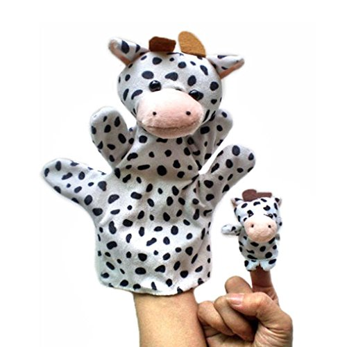 Gotd Finger Puppets Story Time Finger Puppets Educational Puppets Hand Puppets Gift Set/ 2Pcs Finger Even, Storytelling, Good Toys, Hand Puppet for Baby's Gift (Cow)