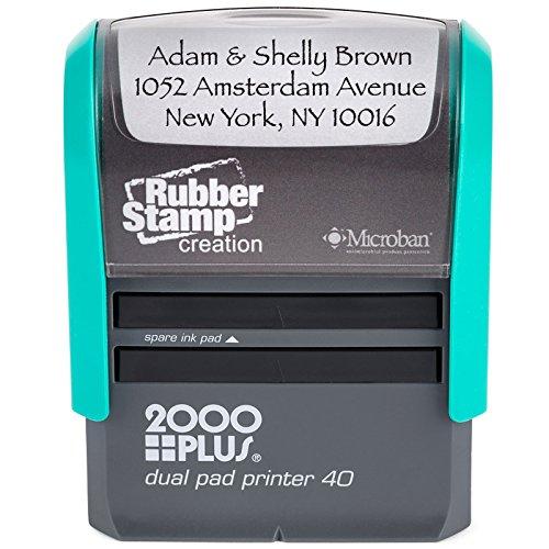 Large Custom Return Address Stamp with Dual Pads - 3-Line Custom Self Inking Stamp