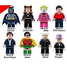 Superhero DC Batman Catwomen Lego Minifigure 8 Set Action Figures Collectables (8 Pieces) Series Building Blocks with Lego