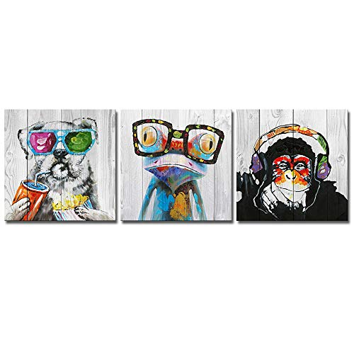 3 Piece Animal Canvas Art Abstract Frog Gorilla Dog Print on Rustic Wood Background Picture Framed Paintings Wall Art for Home Decor 12
