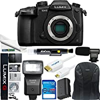 Panasonic Lumix DC-GH5 Mirrorless Micro Four Thirds Digital Camera (Body Only) + SFD290 Universal Flash + 64GB SD Card + Boom Microphone + Backpack + HDMI +Replacement Battery + Pen + Fiber Cloth
