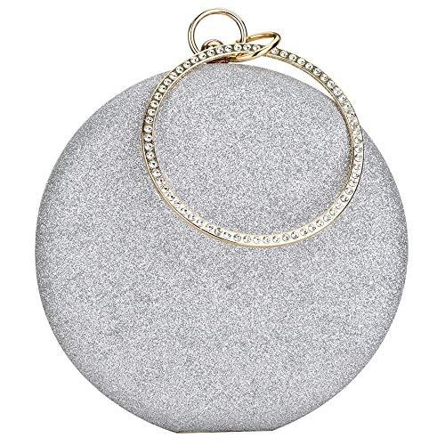 Onorner Women\'s Rhinestone Bridal Evening Bag Wedding Party Handbag Clutch Purse Vintage Bags With Chain (Silver)