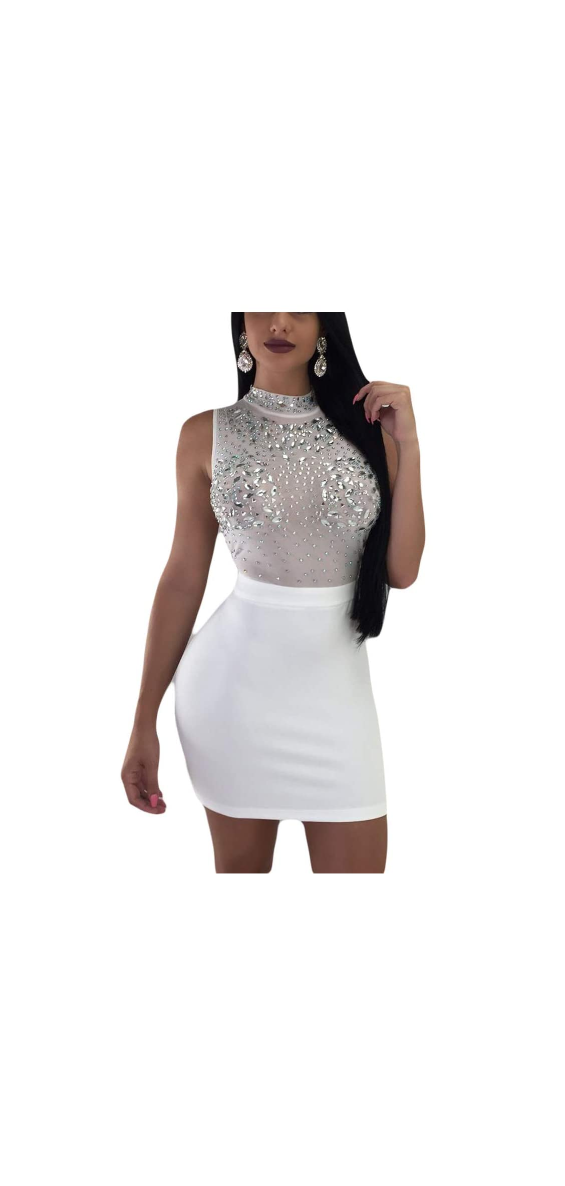 Women's Rhinestone Bodycon Mini Dress - Sexy Sleeveless Mesh See