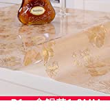 Pvc table cloth waterproof oil-proof soft glass disposable plastic table mat table mat transparent frosted crystal table cloth-B 100x100cm(39x39inch)