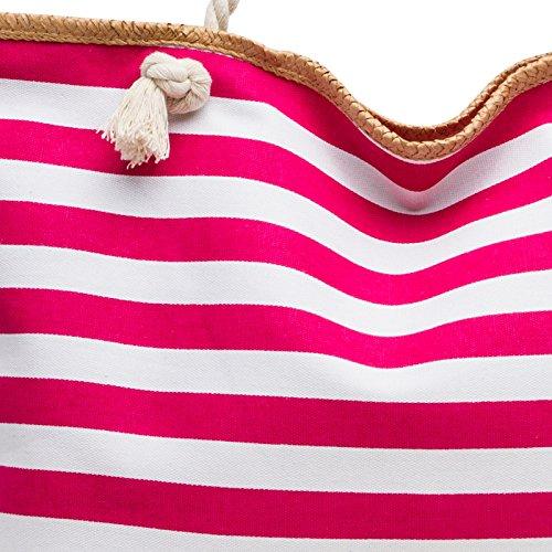 CASPAR TS1025 XL Bolso de Mano Grande para Mujer / Bolso de Hombro de Playa a Rayas, Color:fucsia;Tamaño: Talla Única