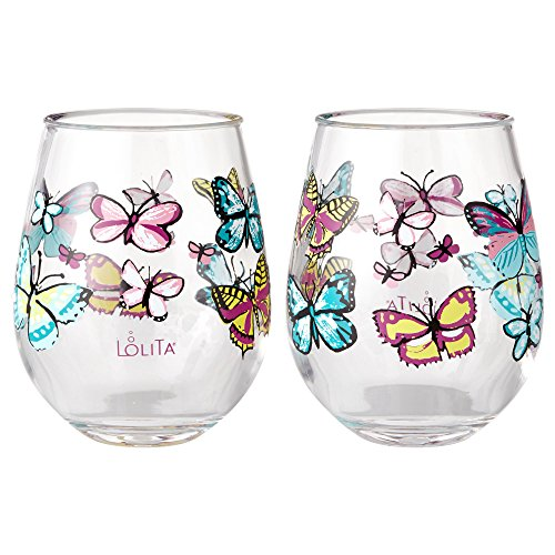 Enesco Designs by Lolita Butterfly Acrylic Stemless Wine Glasses, Set of 2, 17 oz.