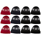 cap pack - 12 Units Of excell Mens Womens Warm Winter Hats In Assorted Colors, Mens Womens Unisex (Assorted Snowflakes)