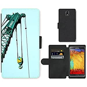 Hot Style Cell Phone Card Slot PU Leather Wallet Case // M00170202 Crane Construction Building Site // Samsung Galaxy Note 3 III N9000 N9002 N9005