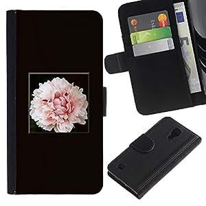 LASTONE PHONE CASE / Lujo Billetera de Cuero Caso del tirón Titular de la tarjeta Flip Carcasa Funda para Samsung Galaxy S4 IV I9500 / Light Pink Flower Blossom