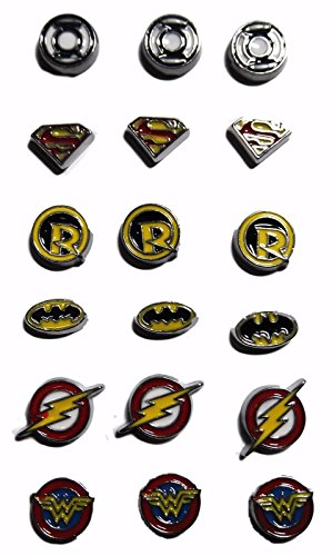 DC Comics Super Hero Logos Set of 18 Charms (3 each of 6 different logos)