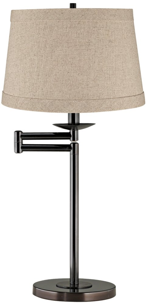 Natural Linen Drum Shade Bronze Swing Arm Desk Lamp by 360 Lighting