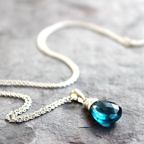 London Blue Topaz Necklace Sterling Silver Teardrop Briolette Gemstone - Pick Your Length