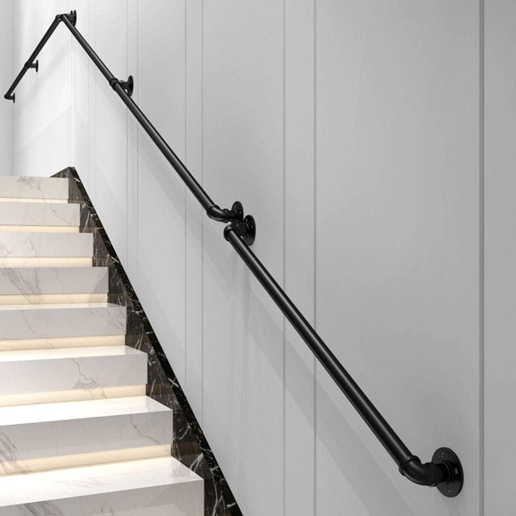 OUG- (1 pie 1-20 pies Reposabrazos de Tubo Negro, pasamanos de Escalera de Hierro Forjado, Barra de Soporte del Pasillo de los Viejos niños contra la Pared, barandilla Interior montada en la Pared